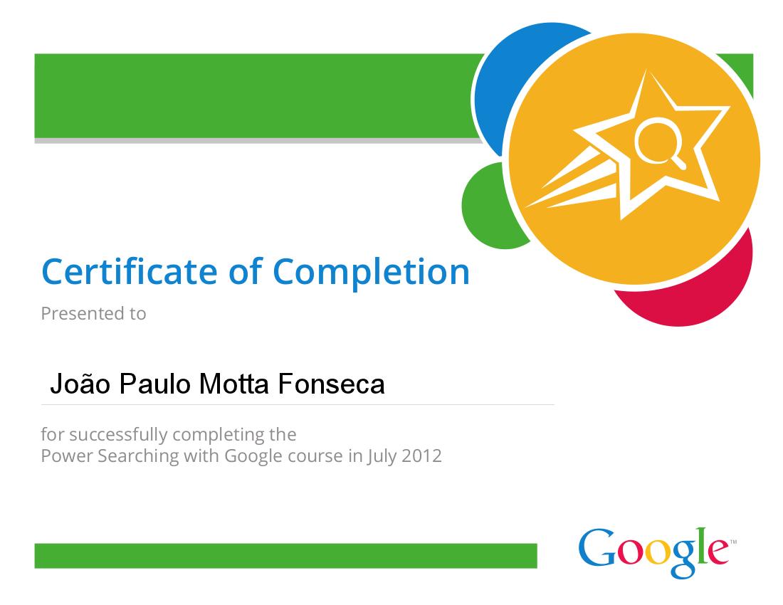 Certificado de Buscas no Google