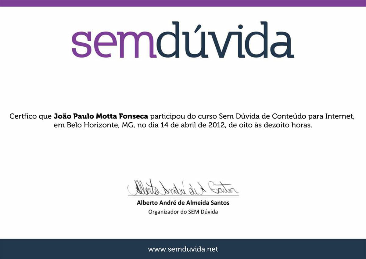 Curso SEM Dúvida 2012 - Conteúdo Web