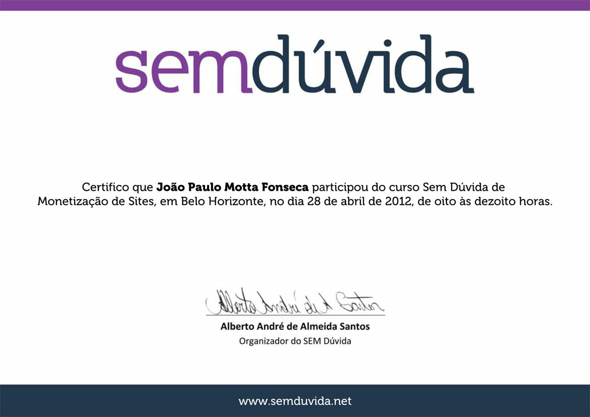 Curso SEM Dúvida 2012 - Monetização de Sites