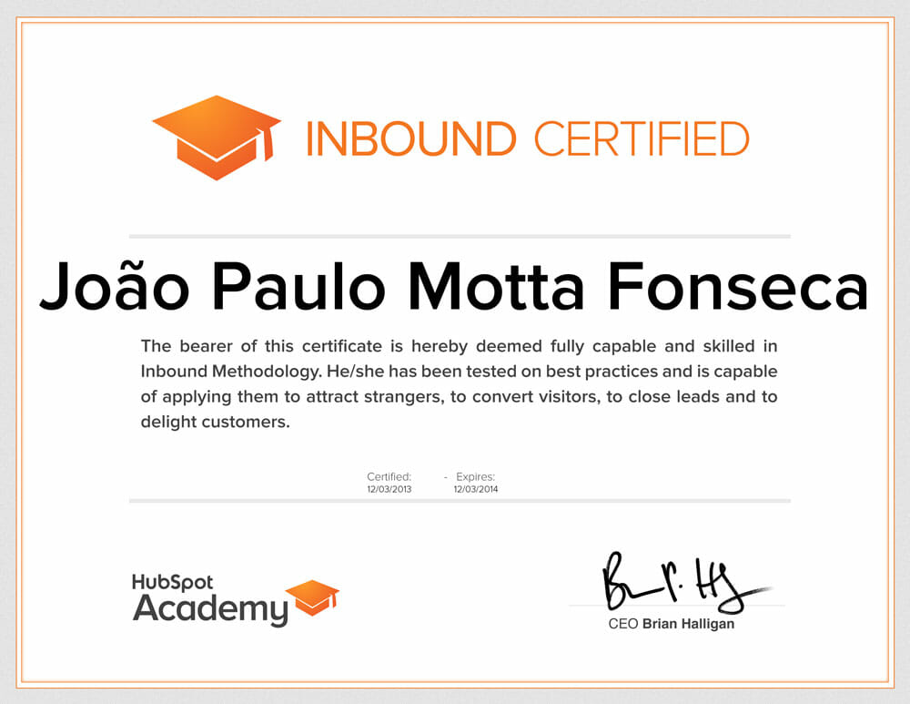 Certificado Inbound Marketing - Hubspot