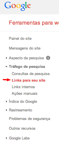 Como ver links no Webmaster Tools