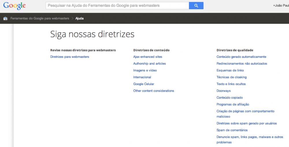 Diretrizes do Google para Webmasters