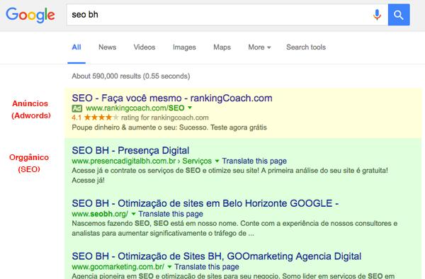 Resultado de buscas do Google, comparação Adwords e SEO